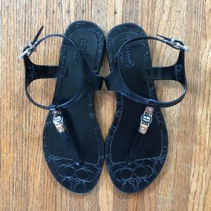 Coach Piccadilly Jelly Black Thong T-Strap 8